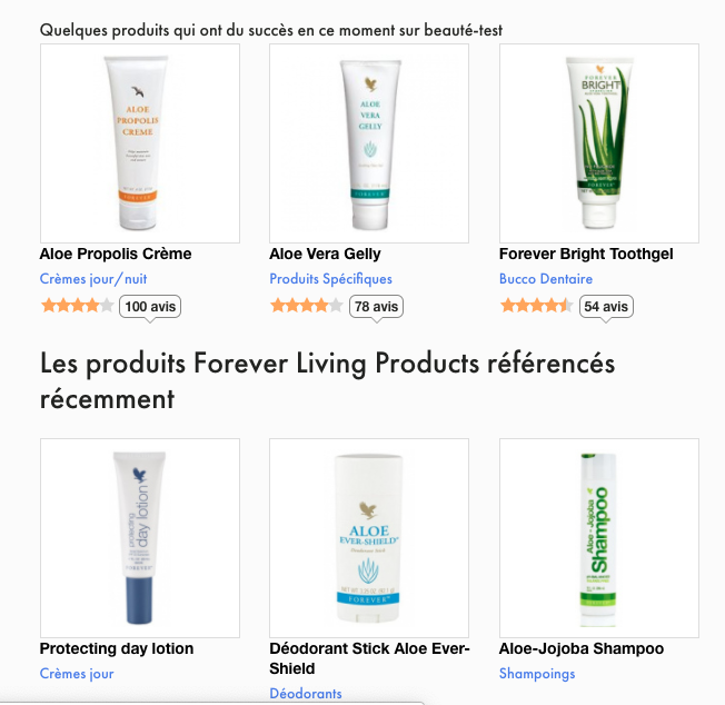Avis Forever Living Products Aloe Vera